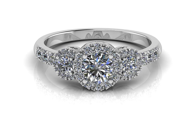 A custom diamond engagement ring, one of many different styles of engagement rings available for sale at Hempen Jewellers in Newmarket