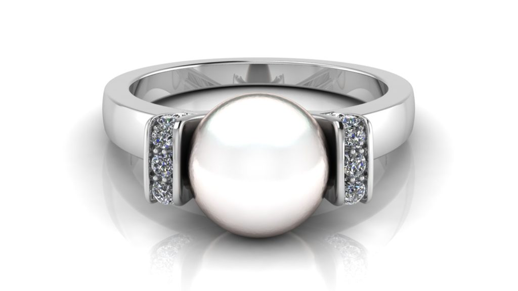 White gold pearl ring with pave set diamond accents