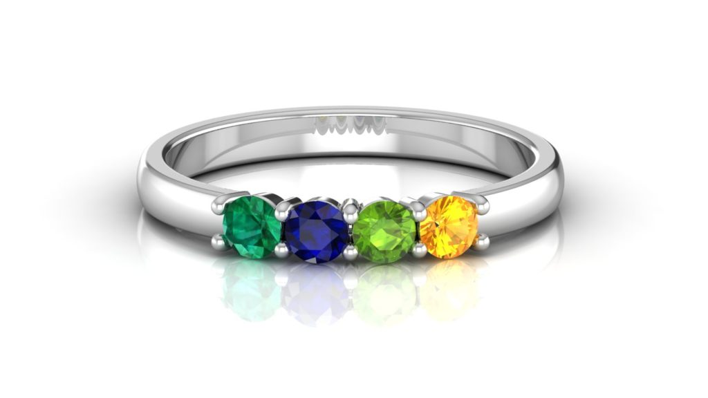 White gold four stone family ring