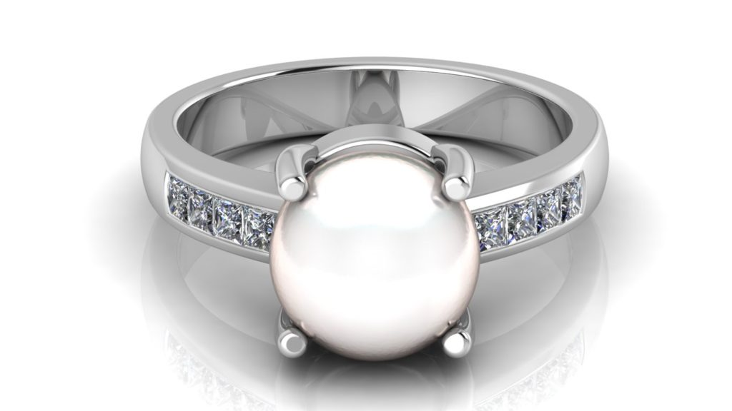 White gold pearl ring with channel set princess cut diamonds