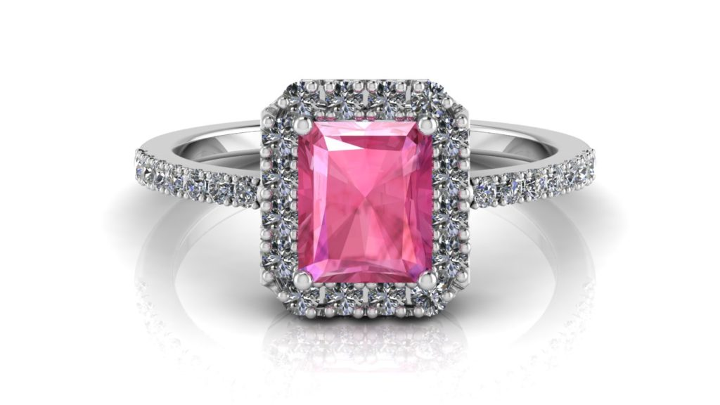 White gold halo ring featuring a radiant cut pink sapphire and diamonds