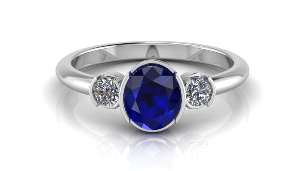 White gold half bezel ring featuring ceylon sapphire and diamonds