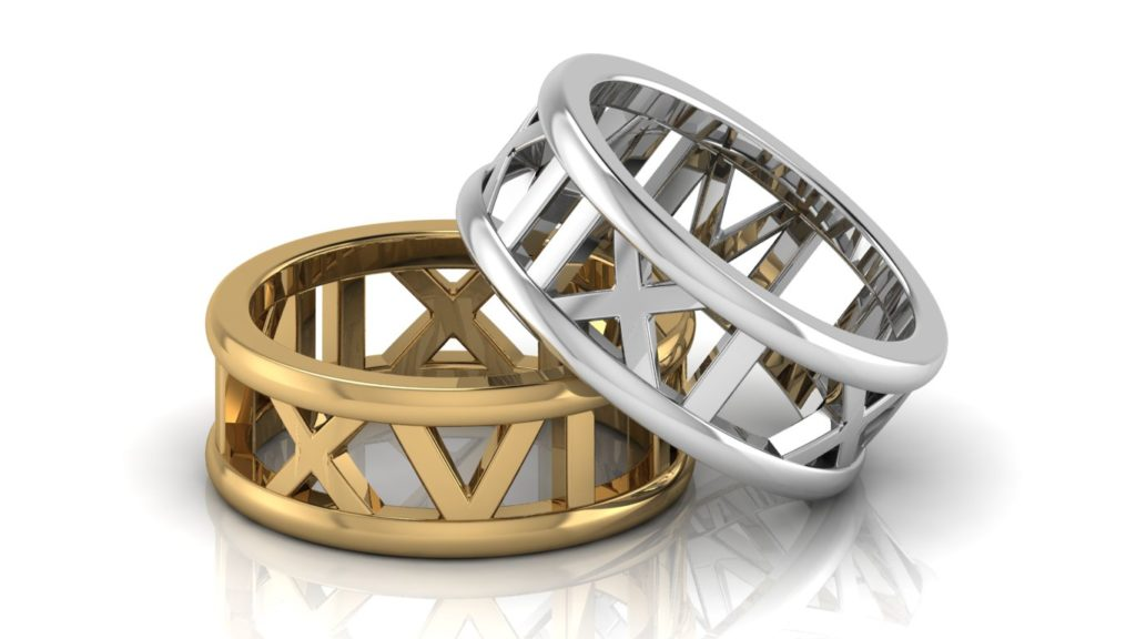 Yellow & White gold roman numeral rings
