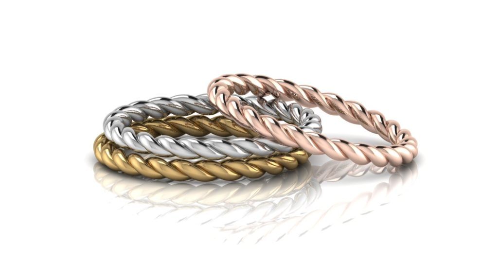 Yellow, white & rose gold delicate rope stacking rings