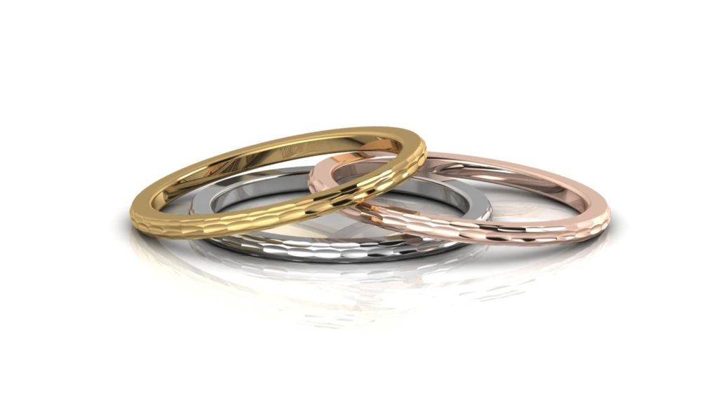 Yellow, white & rose gold delicate planished stacking rings