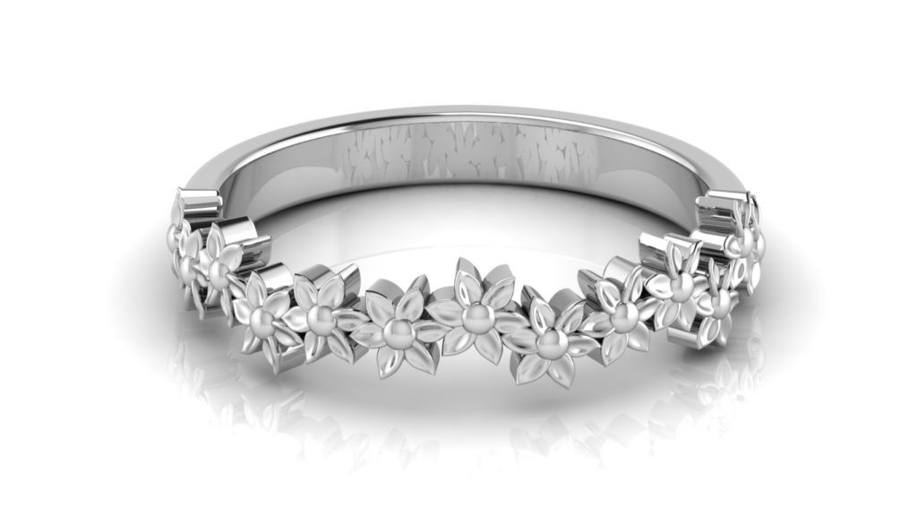 White gold delicate flower ring