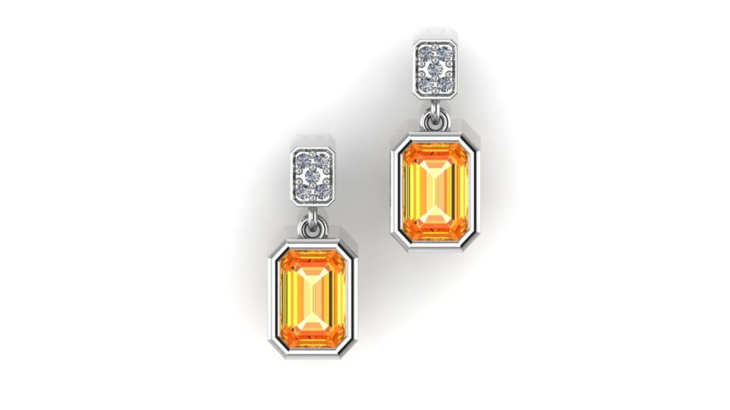White gold studs featuring a bezel set citrine and accent diamonds