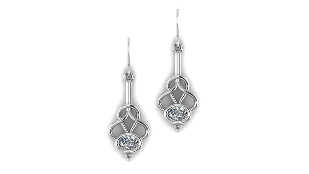 White gold abstract earrings featuring a bezel set oval diamond