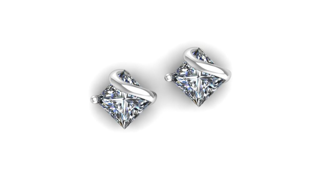 White gold princess cut studs with metal accent