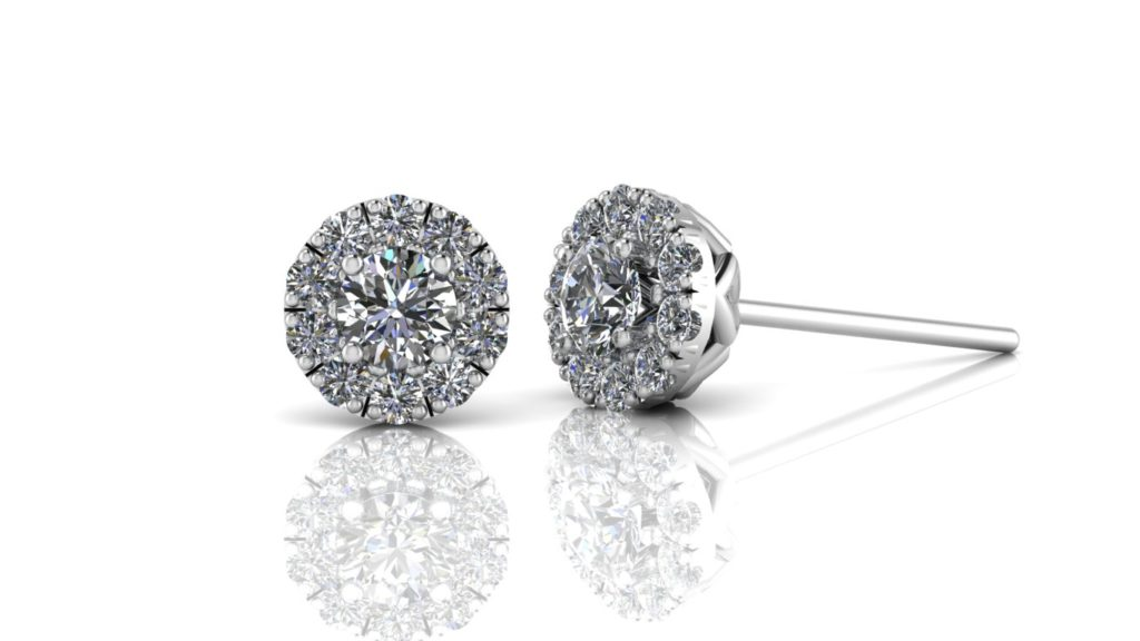 White gold diamond halo studs