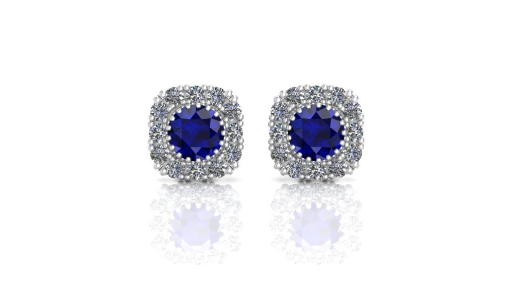 White gold halo studs featuring sapphire and diamonds