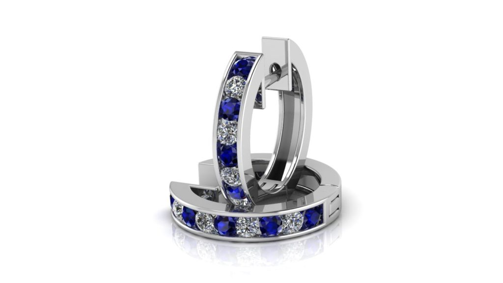 White gold channel set lever back hoops with diamonds and ceylon sapphires