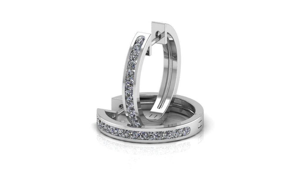 White gold channel set lever back hoops with diamonds