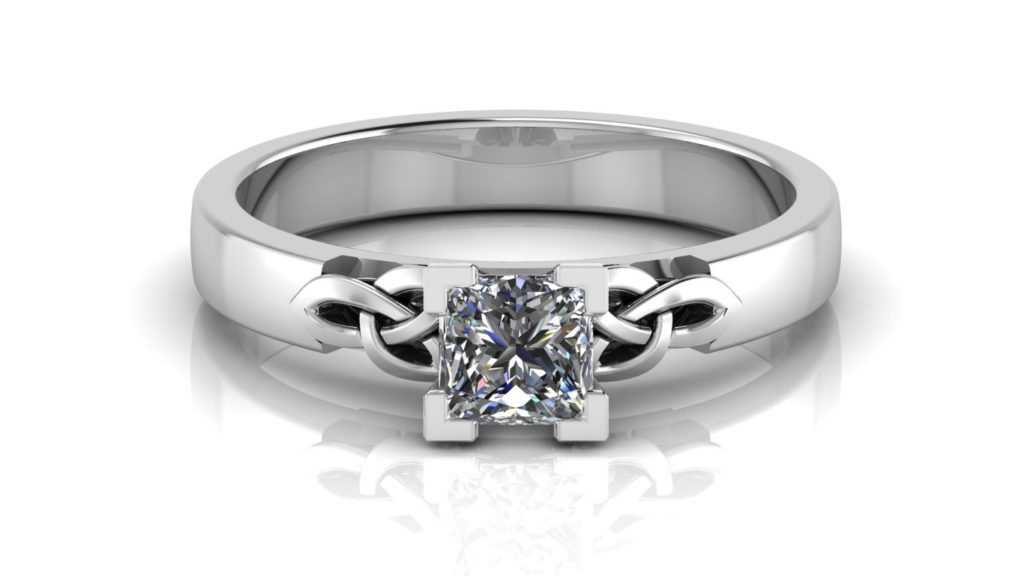 White gold celtic knot engagement featuring a claw set princess cut diamond
