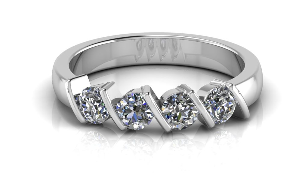 White gold ladies ring featuring four bar set diamonds
