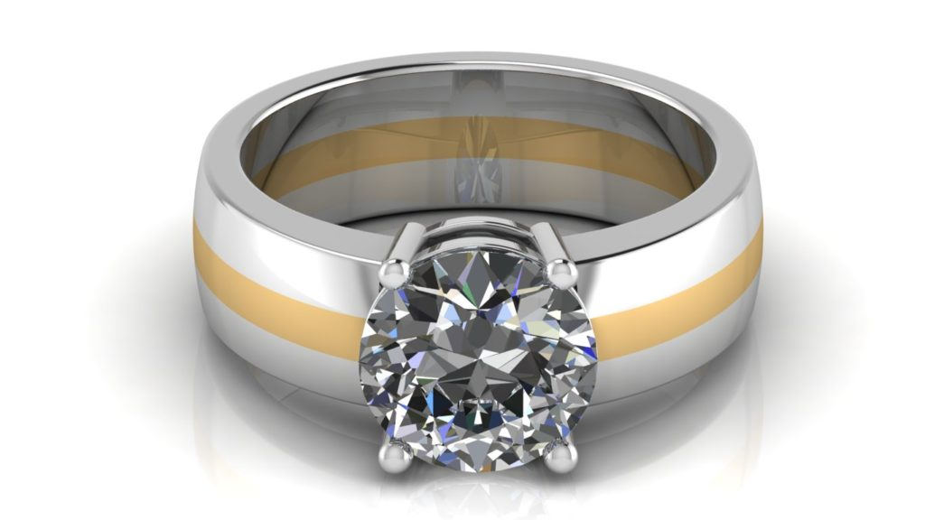 Yellow & white gold solitaire engagement ring featuring a claw set round diamond