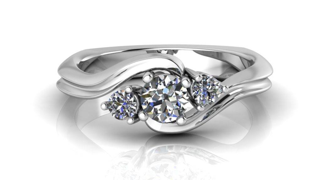 White gold three stone bypass diamond engagement ring