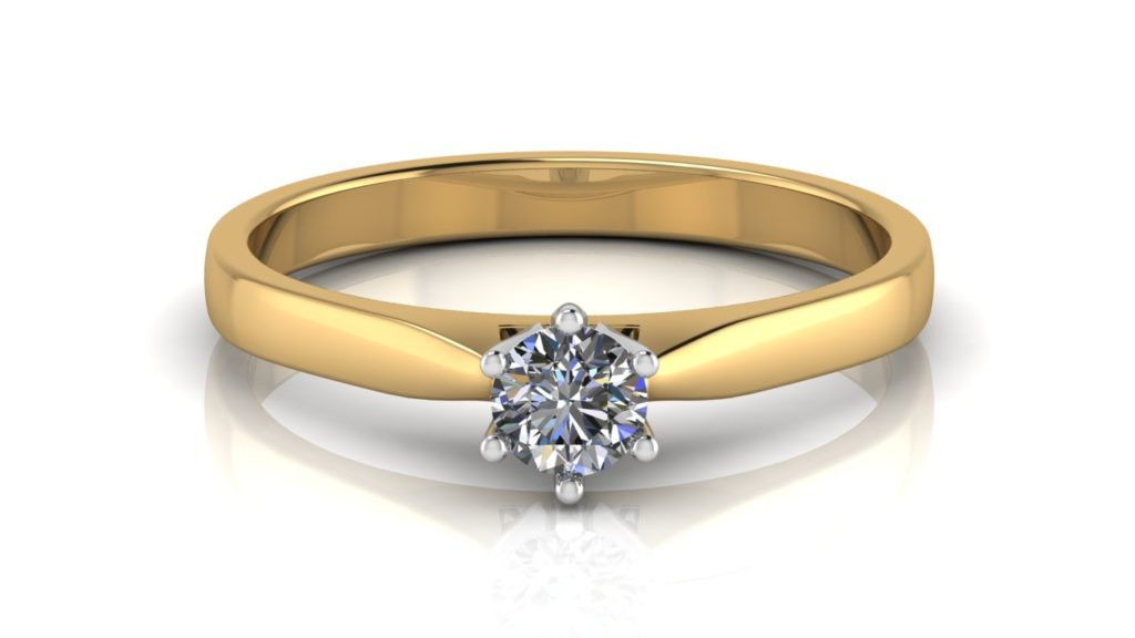 Yellow gold solitaire engagement ring featuring a round diamond set in a white gold setting