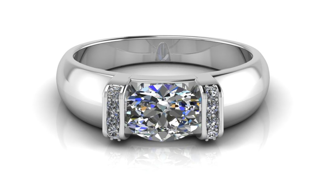 White gold engagement ring featuring a bar set oval cut diamond with smaller pave set diamonds on the bars