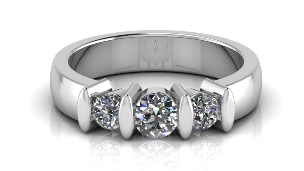 White gold engagement ring featuring three bar set diamonds