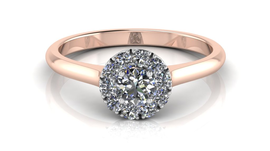 White & rose gold halo engagement ring featuring a round diamond