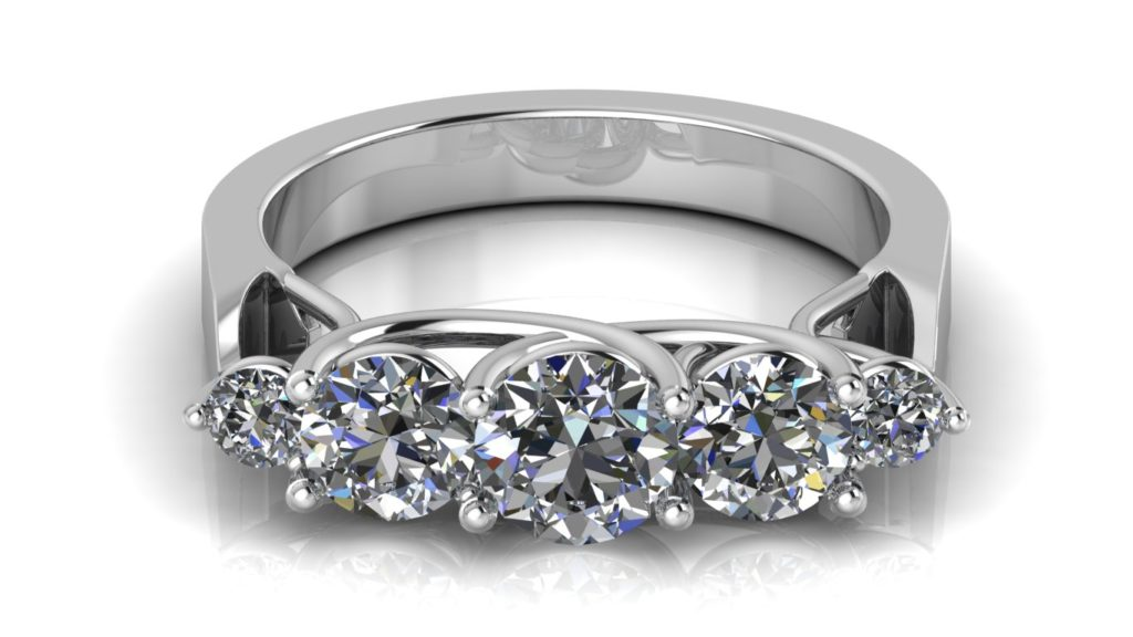 White gold lucida style engagement ring featuring five round diamonds of graduated sizes
