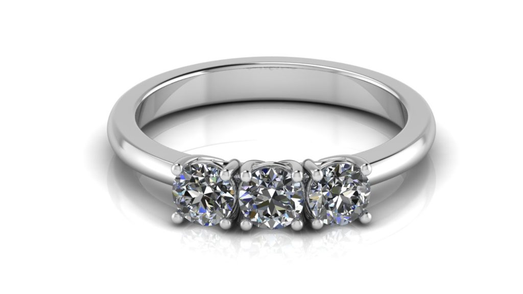 White gold three stone claw set diamond engagement ring
