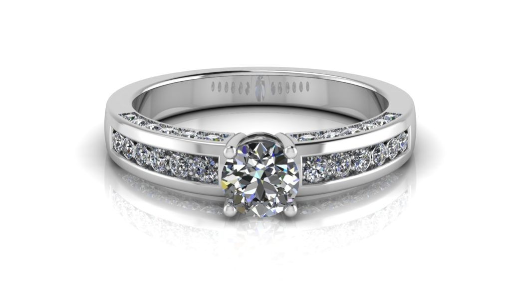 White gold engagement ring featuring a round diamond with pave set diamonds down the band and sides