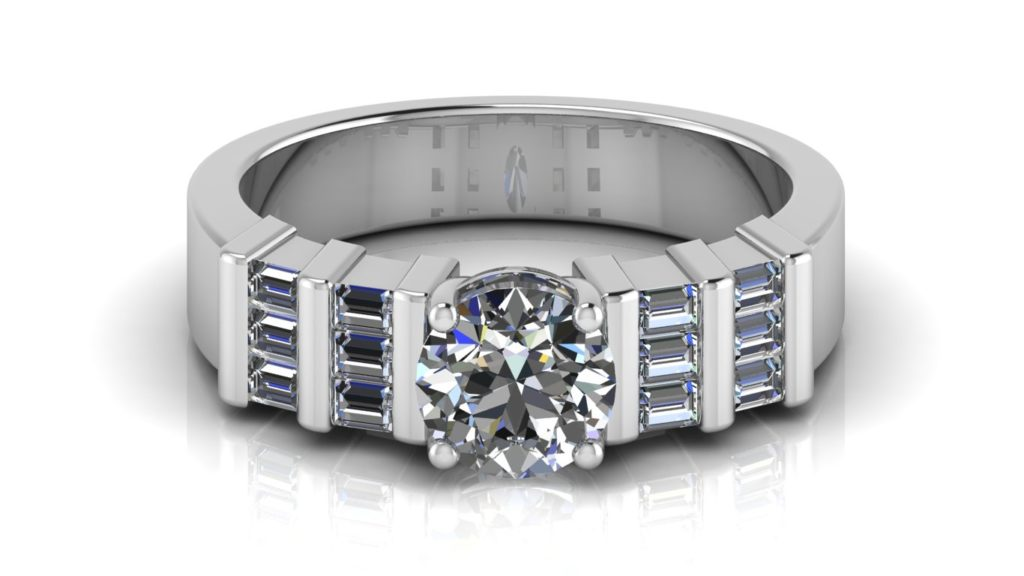 White gold engagement ring featuring a round diamond with side bar set baguette diamonds