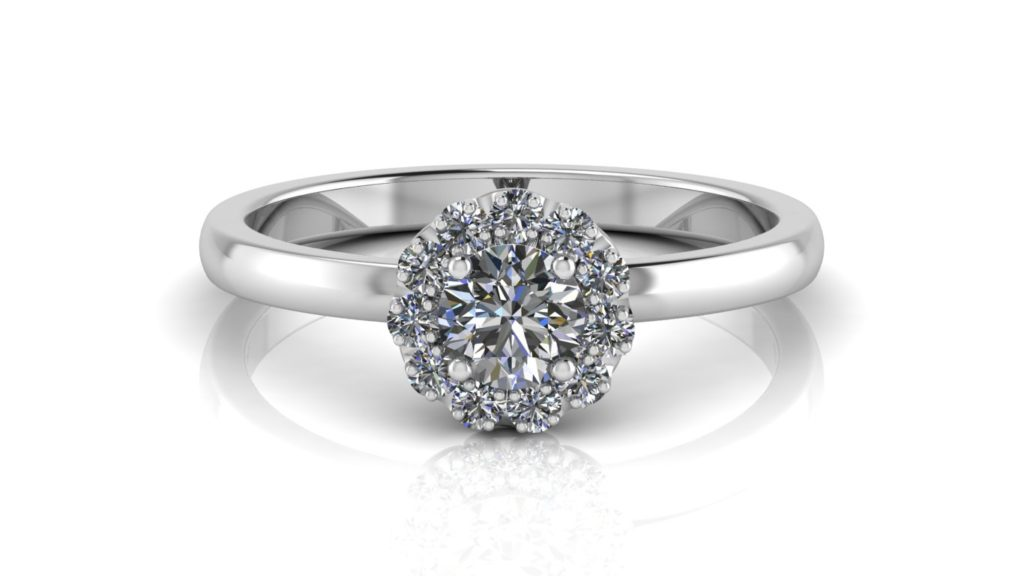 White gold halo engagement ring featuring a round diamond