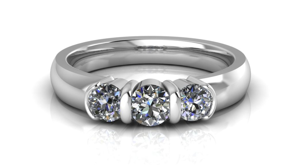 White gold bar set three stone engagement ring