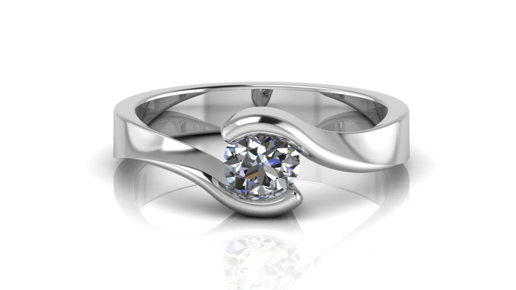 White gold bypass engagement ring featuring a round diamond