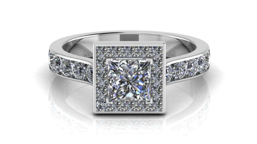 White gold halo engagement ring featuring a princess cut diamond with pave set diamonds down the band