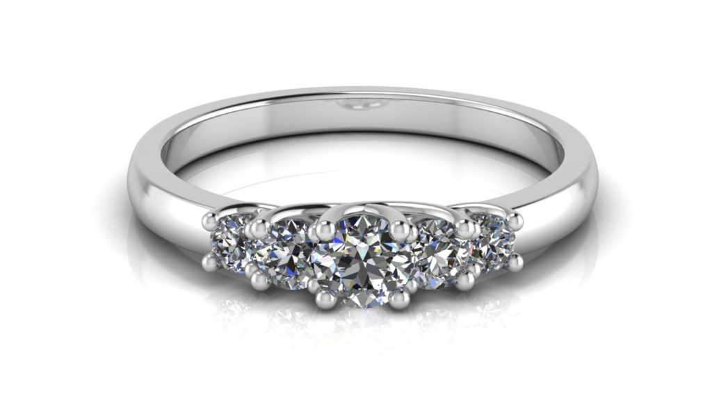 White gold five stone engagement ring