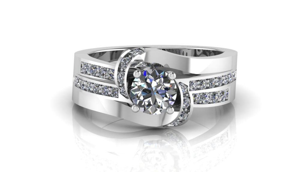 White gold bypass engagement ring featuring a round diamond with smaller diamonds down the band