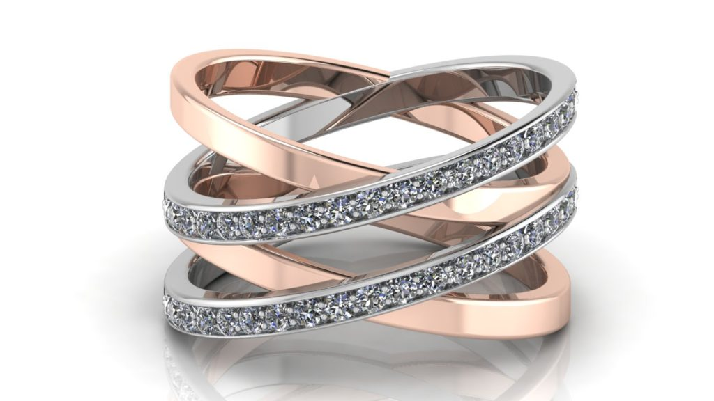 White & Rose gold criss-cross ring with diamonds