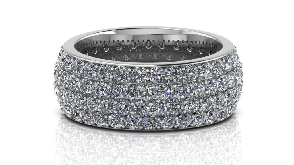 White gold dommed micropave diamond band