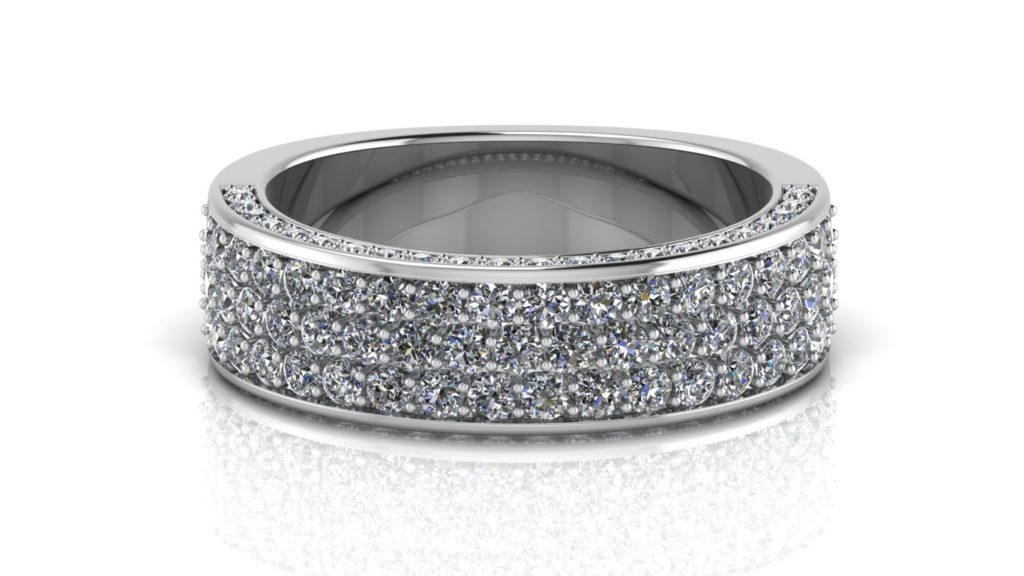 White gold flat micropave diamond band with accent side diamonds