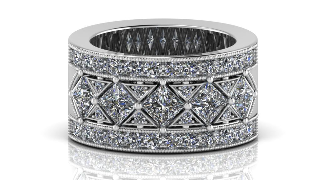 19K White gold diamond band featuring 5 angled princess cut diamonds and smaller diamond accents