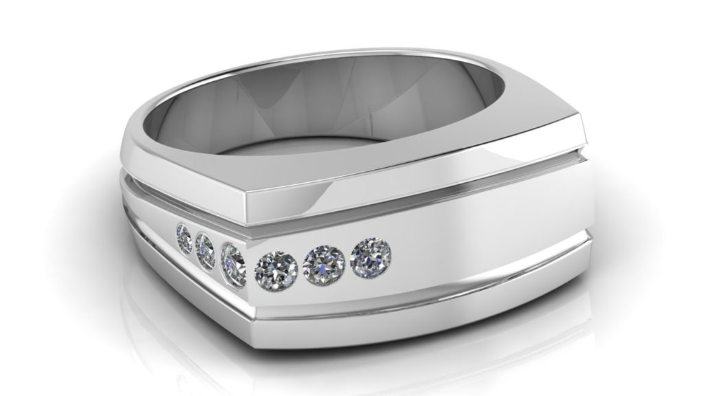 White gold grooved angular mens ring featuring six flush set diamonds