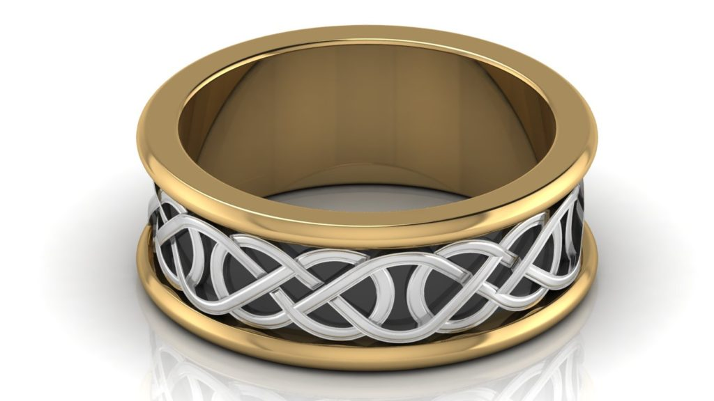 Yellow & white gold mens celtic knot band