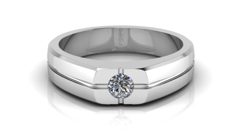 White gold signet style ring featuring a flush set round diamond and perpendicular grooves