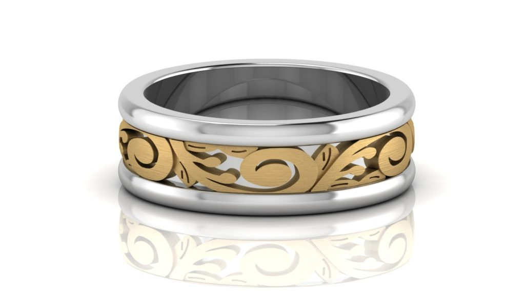 Yellow and white gold band with a vine motif center