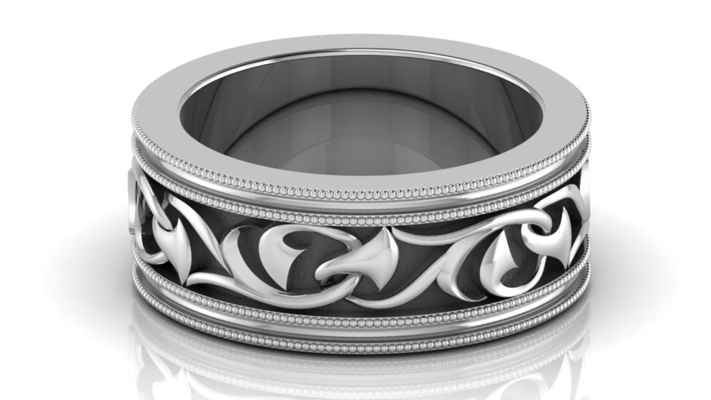 White gold mens ring with vine motif center and milgrain accents