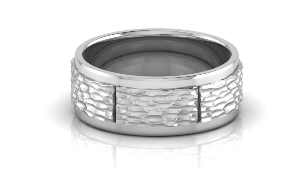White gold mens band with planished center, polished edges and groove accents