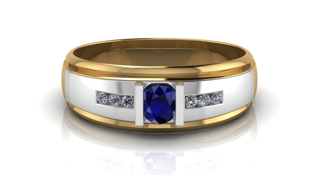 Yellow & white gold mens band featuring a round ceylon sapphire and channel set diamonds