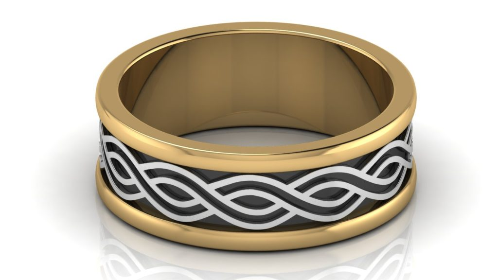Yellow & white gold mens band with wave motif