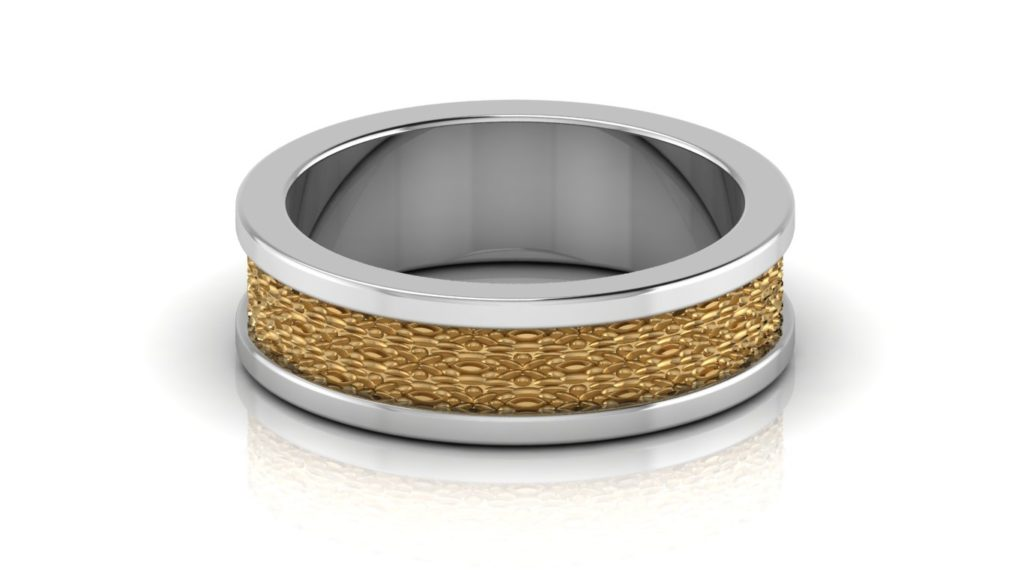 Yellow & white gold mens band with textured center
