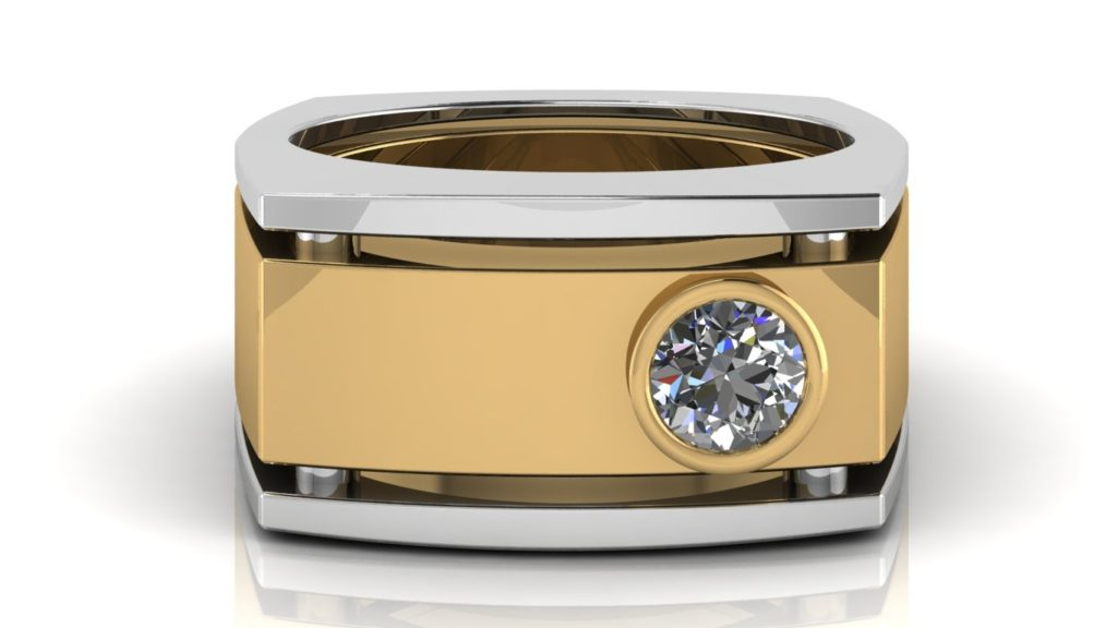 Yellow & white gold wide angular mens band featuring a bezel set diamond