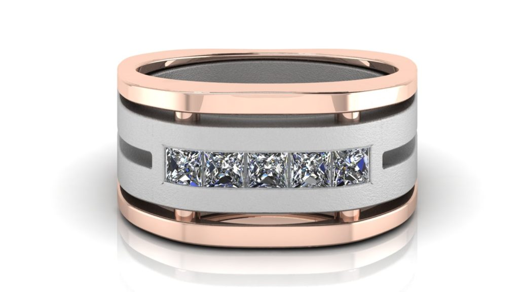 White & rose gold wide mens band featuring five channel set princess cut diamonds with textured center